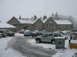Car park and main building